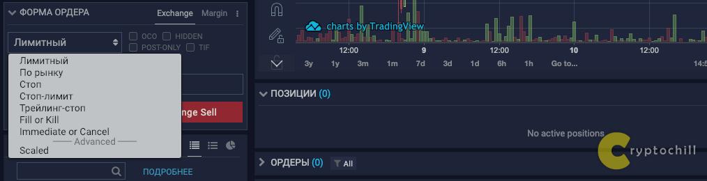 Все формы ордера на бирже Ethfinex